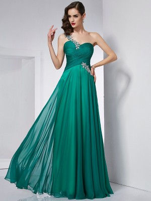 Princess-Linie One-Shoulder-Träger Ärmellos Chiffon Bodenlang Kleid