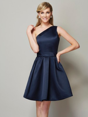 A-Linie One-Shoulder-Träger Ärmellos Satin Kurz Brautjungfernkleid