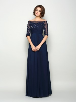 Princess-Linie 1/2 Ärmel Schulterfrei Chiffon Perlen verziert Bodenlang Brautmutterkleid