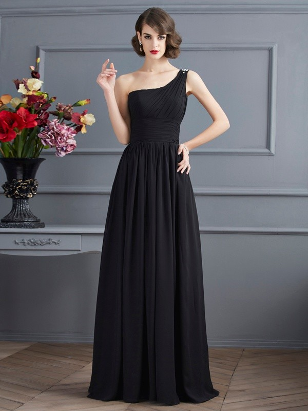 Princess-Linie One-Shoulder-Träger Ärmellos Bodenlang Chiffon Kleid