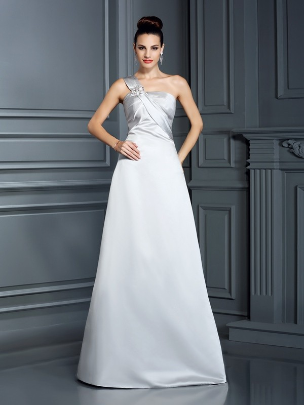 Princess-Linie One-Shoulder-Träger Ärmellos Bodenlang Satin Kleid