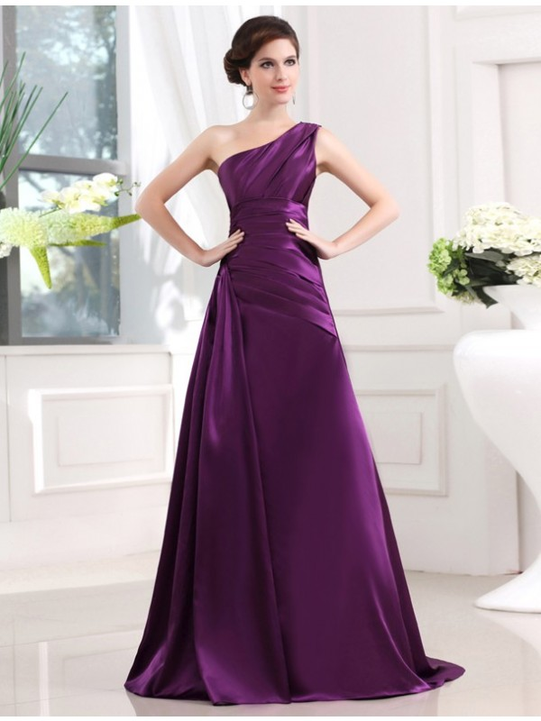 A-Linie/Princess-Linie One-Shoulder-Träger Ärmellos Stretch-Satin Falten Lange Kleider