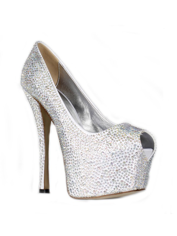 Frauen Satin Stiletto-Absatz Peep-Toe Plattform Mit Strasssteine High Heels